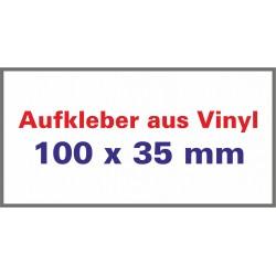 Aufkleber aus Vinylfolie Ecken spitz 100x35mm