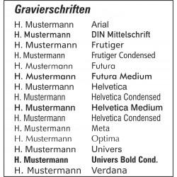 Namensgravur Schriftart Frutiger