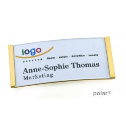 "Namensschild polar® 30 ""metal"" 70x30mm gold"