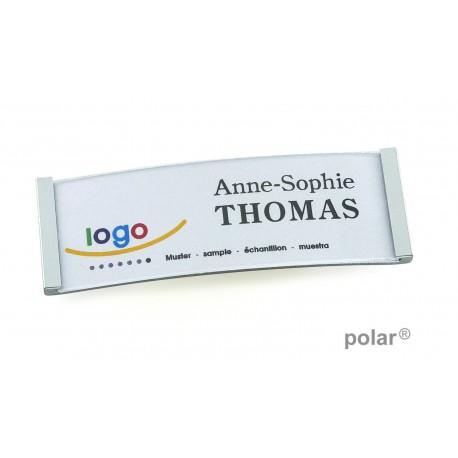 "Namensschild polar® 20 ""metal"" 68x22mm chrom hochglanz"