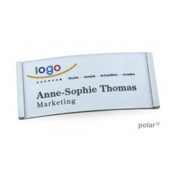 "Namensschild polar® 35 ""metal"" 80x34mm chrom hochglanz"