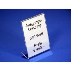 Preisblattsteller Acrylglas DIN A7 hoch  - 100% WIR-AKTION