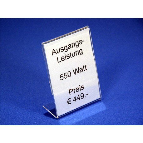 Preisblattsteller Acrylglas DIN A6 hoch  - 100% WIR-AKTION