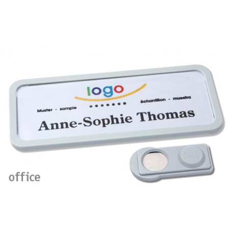 Namensschild OFFICE® 30 Farbe hellgrau mit Magnet standard
