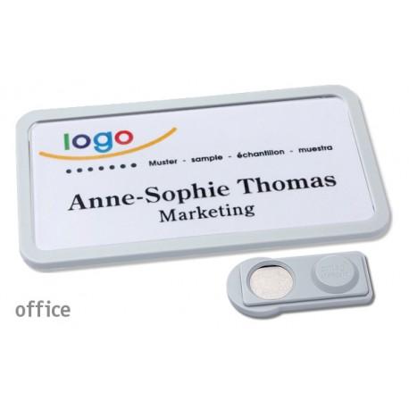 Namensschild OFFICE® 40 Farbe hellgrau mit Magnet standard